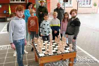 Opa Eric (71) maakt gigantisch houten schaakspel voor school... (Moerbeke-Waas) - Het Nieuwsblad
