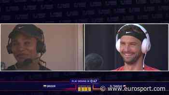 UTS - Serena Williams interviewing and encouraging Grigor Dimitrov - Eurosport.com
