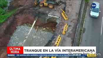 Tranque en Arraiján por colapso de una parte de la vía - TVN Panamá