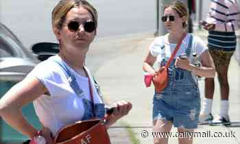 Ashley Tisdale slips into a mommy-chic denim romper two months after delivering daughter Jupiter - Daily Mail