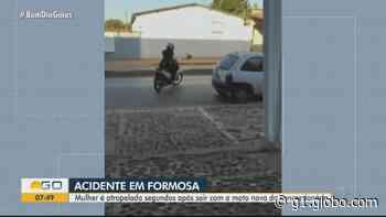 Motociclista contemplada em consórcio é atropelada ao sair da concessionária em Formosa; vídeo - G1