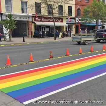Second Street temporarily closed today in downtown Cobourg for painting of Rainbow Crosswalk - ThePeterboroughExaminer.com