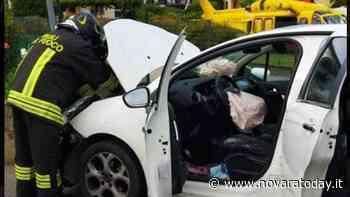 Incidente a Oleggio, auto finisce contro un muretto: vigili del fuoco ed elisoccorso sul posto - NovaraToday
