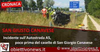 SAN GIUSTO CANAVESE – Incidente sull'Autostrada A5,nei pressi del casello di San Giorgio (FOTO) - ObiettivoNews