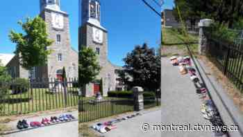 Kahnawake residents place children's shoes in front of Catholic Church in honour of resident school victims - CTV News Montreal