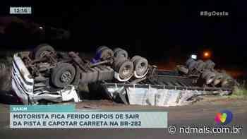 Xaxim: motorista fica ferido depois de sair da pista e capotar carreta - ND Mais