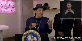 """'Machete' Star Danny Trejo Passionately Defends Gavin Newsom At Governor's News Conference: """"This Guy's Been Trying To Save Our Lives"""" - Yahoo Entertainment"""