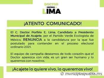 Desaparece el candidato a edil por el PVEM en Acajete - Municipios Puebla
