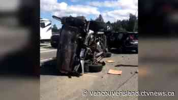 Highway 1 reopened after serious crash in Mill Bay - CTV News VI