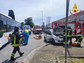 Intrappolato in auto dopo lo scontro col bus - Qui News Firenze