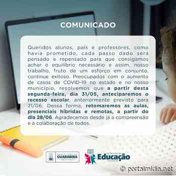 Secretaria de educação de Guarabira antecipa recesso escolar por causa da COVID-19 - PortalMidia