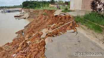 Após um mês, porto de Cruzeiro do Sul segue sem rampa de acesso após desbarrancamento - G1