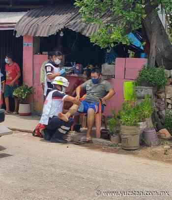 Jóvenes motociclistas se accidentan por perro en Ticul - El Diario de Yucatán