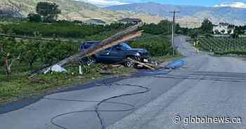 Power temporarily disrupted in Osoyoos after SUV smashes into utility pole - Global News