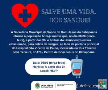 Doação de sangue em Bom Jesus do Itabapoana em 08/06 - Defesa - Agência de Notícias