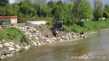 Steine an der Mangfall in Kolbermoor mit Beton befestigt - ovb-online.de
