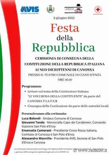 Comune di Canossa, il 2 giugno la consegna della Costituzione ai neo diciottenni - Redacon