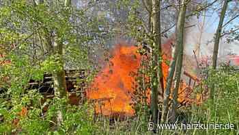 Feuer in Herzberg: Alte Gartenhütte am Bahnhof brennt - HarzKurier