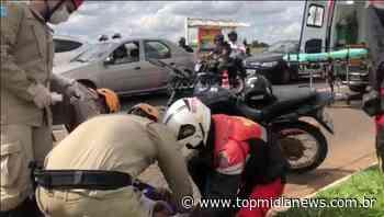 Motociclista fica com trauma na face após acidente na Duque de Caxias - Top Mídia News