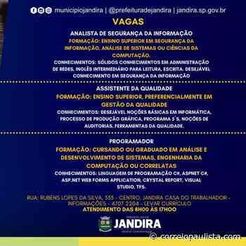 Prefeitura em parceria com a Casa do Trabalhador de Jandira abre vagas na área de Tecnologia⠀ - Correio Paulista