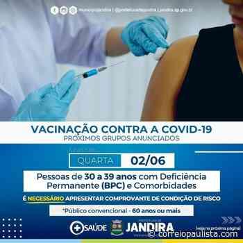 Jandira começa a vacinar pessoas de 30 anos com comorbidades - Correio Paulista