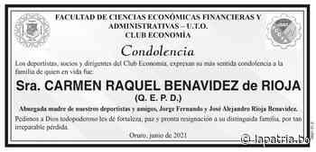 Condolencia: Sra. CARMEN RAQUEL BENAVIDEZ de RIOJA (QEPD) - Periódico La Patria (Oruro - Bolivia)