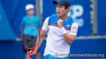 Yoshihito Nishioka reacts to beating Jo-Wilfried Tsonga at Roland Garros - Tennis World USA