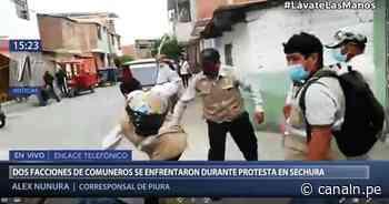 Piura: Comuneros se enfrentaron frente al local de Registros Públicos en Sechura - Canal N