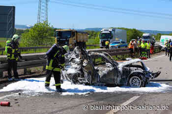 Aktuell: Schwerer Verkehrsunfall auf der A8 bei Saarwellingen - Blaulichtreport-Saarland