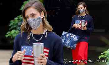 Jessica Alba shows off her patriotic side as she heads to the office in an American flag sweater - Daily Mail