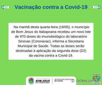 Bom Jesus do Itabapoana recebeu hoje (19/05) mais 970 doses de CoronaVac - Defesa - Agência de Notícias