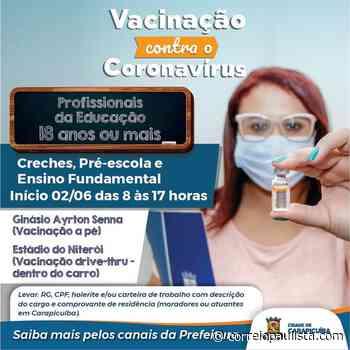 Carapicuiba vai vacinar profissionais da educação com 18 anos nesta quarta-feira, 2 - Correio Paulista