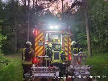 Meiningen - Brand in einer Waldhütte - inSüdthüringen