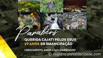 Celebração Cajati divulga programação para comemorar o 29º aniversário do município 19/05/2021 às 09h - Adilson Cabral