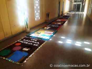 Corpus Christi: detentas produzem tapete de 70 metros em Colatina   Vídeo - Colatina em Ação
