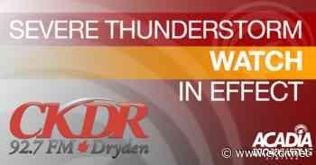 Severe Thunderstorm Warning For Dryden, Sioux Lookout - ckdr.net