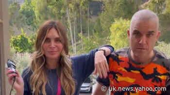 Robbie Williams goes bald after wife Ayda Field shaves his head - Yahoo News UK