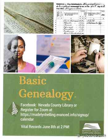 Second program in free virtual genealogy series for beginners offered by Nevada County Library - YubaNet