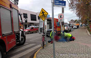 Ciclista fica ferido em acidente na área central de Canoinhas - JMais
