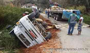 Caminhão tomba em desvio em estrada de terra em Manhumirim - Portal Caparaó