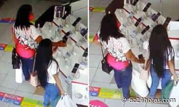 Mulheres são flagradas furtando celular em loja de Rio Branco - ac24horas.com
