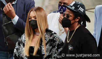 Beyonce & Jay-Z Cheer On the Brooklyn Nets from Courtside Seats!