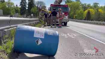Corrosive acid barrel falls off truck in Cobourg | Watch News Videos Online - Globalnews.ca