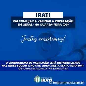 Irati vai vacinar contra Covid-19 população em geral na quarta-feira (09) | Hoje Centro Sul - Hoje Centro Sul