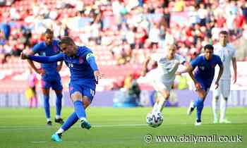 Jordan Henderson MISSES penalty after appearing to take the ball off Dominic Calvert-Lewin