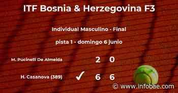 Hernan Casanova venció al tenista Matheus Pucinelli De Almeida en la final del torneo de Sarajevo - infobae