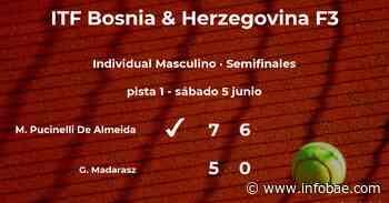 El tenista Matheus Pucinelli De Almeida, clasificado para la final del torneo de Sarajevo - infobae