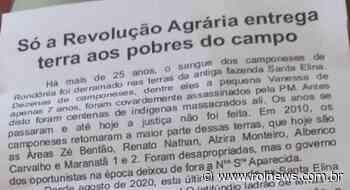 Em Pimenta Bueno, cartas são deixadas em caixas de correios de casas convocando famílias para invadirem a fazenda em Chupinguaia - ROLNEWS
