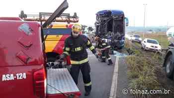 Acidente entre ônibus e caminhão deixa 12 feridos em Senador Canedo - Folha Z