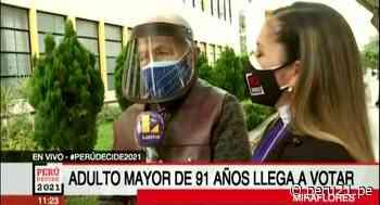 Adulto mayor de 91 años acude a votar en Miraflores - Diario Perú21